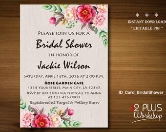 INSTANT DOWNLOAD Bridal Shower Invitations, Rustic Floral Bridal Shower Invitation Instant Download, Party Invites Printable, Editable pdf