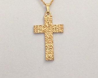 Vintage retro cross, gold cross, religious cross, authentic 1980's cross, men's gold cross, ladies cross