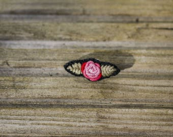 EMBROIDERED PIN // pink and black