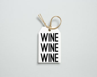 WINE Gift Tag, Gift Tag Set Of Six, Gift Tags Printable, Wine Gifts, Black And White Art, Printable Art, Printable Tags, Digital Art, Prints