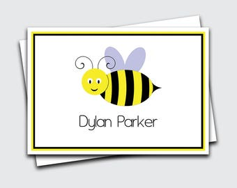 Personalized Kids Thank You Notes / Bumble Bee / Thank You Notes / Bumble Bee Notecards (Item #1702-051FO)