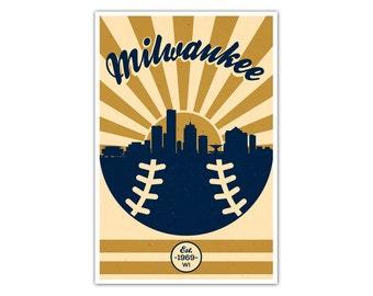 Milwaukee Baseball Vintage Poster
