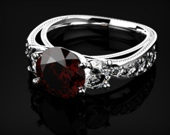 White Gold Garnet Engagement Ring Garnet Ring Red Gemstone Engagement Ring White Gold Garnet Ring January Birthstone