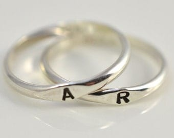 Initial ring, Personalized jewelry, Stackable, Personalized ring, Handmade unique jewelry, Hand stamped ring, Christmas, 925 Sterling silver