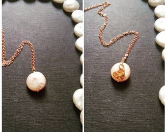 with or without you hearty pearl dainty necklace, pearl necklace, heart necklace, hammered heart, rose gold necklace
