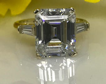 Emerald Cut with Baguettes Engagement Wedding Promise  7.50ct Ring Solid 14KT Yellow Gold #4931
