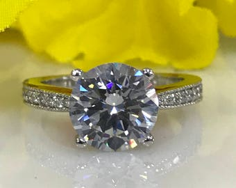 Moissanite Round Brilliant Cut Engagement Wedding Anniversary Ring 3.00 ctw. With Diamond Accents In 14k White Gold #5022