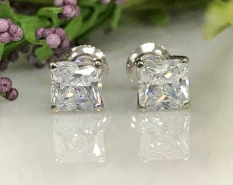 6MM Simulated Diamond Radiant Cut Solitaire Stud Basket Earrings w/Screw Backs  in Solid 14K White Gold  #5036