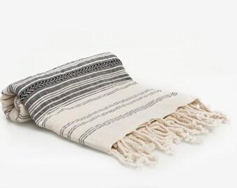 Turkish Towel - Fouta -Pestemal Towel - 100% Cotton - Dark Gray