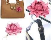 2 in 1 : Tabletop Purse HANGER + Flower BAG CHARM | Real Leather Pearly Pink Rose Handbag Charm & Folding Table Purse Hook, silver keychain