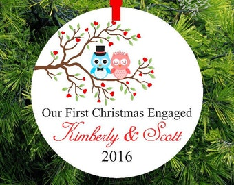 Our First Christmas Engaged |  Lovebird Tree Ornament | Personalized Engagement Gift | First Christmas Ornament | Couples Gift - COE-OT-1