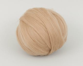 Biscuit B164, 24mic merino wool, 1.78oz (50gr) for needle felting, wet felting, spinning. 100% wool.