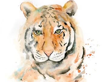 Thomas the Fierce Tiger Watercolor Art Print / Tiger Giclee Print / Wild Animal Artwork / Tiger Art Print / Modern Wildlife Watercolor