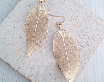 Leaf Earring,Gold Leaf Earring,Gold Leaf Dangle Earring,Leaf Dangle Earring,Fine Leaf  Earring,Boho Earring,Bridesmaid Earring