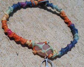 Multicolor Rainbow handmade hemp macrame anklet with peace sign charm & small rose quartz crystal