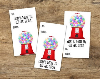 Funny Saying Digital Printable Gift Tags - Set of 3 Designs - Don't Blow It All At Once Tag Gum-ball Machine Gum Balls Cute To And From DIY