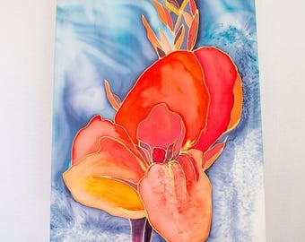 Silk panel Hand paint for a home decor with a SWORD LILY PANEL
