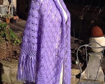 Lavender wool shawl
