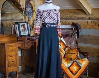 Vintage skirt -  1970's full length black maxi skirt