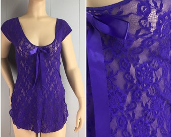 Vintage Womens 1980s Bright Purple Lace and Mesh Negligee | Size M