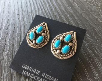 Vintage Turquoise Earrings in Sterling Silver
