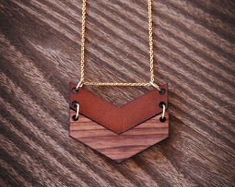 Leather and Wood Necklace | Chevron Necklace | Double Pendant Necklace