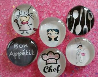 Girl chef fridge magnets