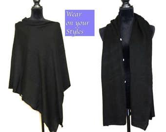 Black Cashmere Poncho Ladies Cashmere Scarf Cashmere Cape One Size