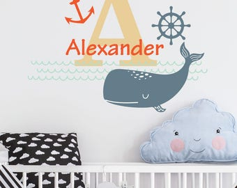 Nautical | Custom Personalised Name Initial Animals Cute Nursery Kids Bedroom Playroom Decal | Removable Vinyl Wall Sticker
