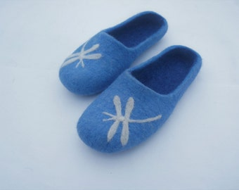 Blue clogs  Felted clogs Women slippers Organic slippers Women shoes  Felted wool shoes Felted slippers Home Women clogs