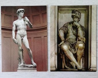 Postcards of Italian marble statues vintage, Florence statues, Paris Saint Mary