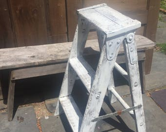 Vintage Painted Wood Step Ladder