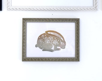 Rabbit.  Pressure. Linocut / hand printed