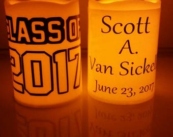 Class of 2017 Flameless Candle w Name Graduation