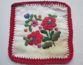 Vintage Hungarian Embroidery Flower Napkin