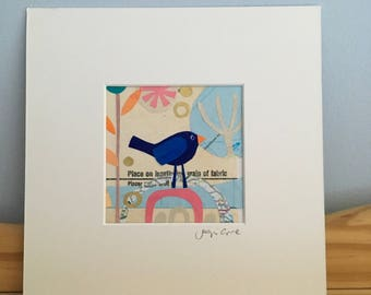 """Bluebird original mixed media collage, """"Perfectly placed"""""""