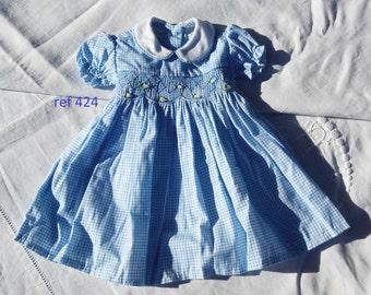2 models of dresses doll clothes or baby Corolla 42 cm Blue gingham smocking retro vintage patterned floral and vegetal (ref 422 & 424)