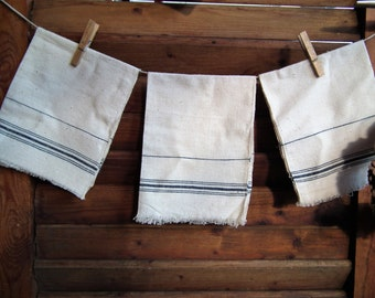 Linen 3 VINTAGE Hand Made HEMP TEA Towels, Wipes.  Antique Natural Organic Cloth, Material, Napkins, Kitchen Farmhouse, Rustic Shabby Decor