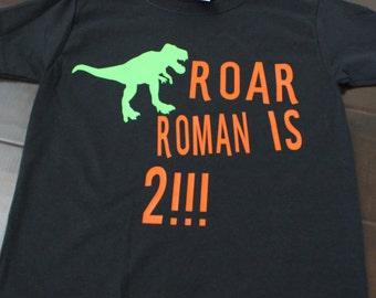 Dino Birthday Shirt, Roar Birthday Boy, TRex Birthday Shirt, Boy Birthday Shirt, Dinosaur Birthday, Custom Birthday Shirt, Boy 2nd Birthday