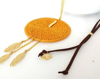 Ocher leaf necklace for women, Ocher long necklace with pendant, Ethinic long necklace with leaves pendant, Boho long necklace with pendants