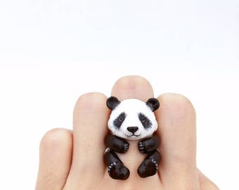 Panda ring, Handcrafted, Enamel ring, Animals ring, Animals Jewelry, Enamel Brass Jewelry, Animal, Gift, Cute, Panda, 3 pieces ring
