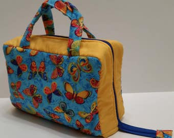 Brilliantly Colored Butterflies Lunch Tote Opening Into a Tray.