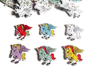 Wood buttons Unicorn, pegasus piece wood, sewing material, finishes scrapbooking clothing accessories, custom packs