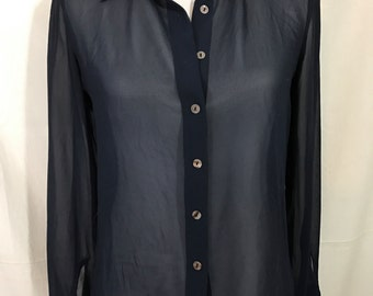 90s Sheer Top The Limited Navy Chiffon Vegan Blouse Medium