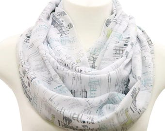 Architecture Scarf architect scarf interior designer infinity scarf architectural details Scarf birthday Gift for her graduation gift white