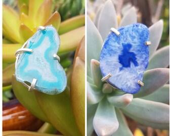 Blue Druzy Agate Rings