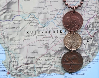 South Africa trio coin necklace/keychain - 3 different designs - made of original coins from South Africa