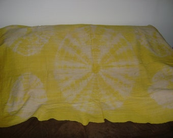 African Mudcloth Yellow Tie-Dyed Throw  Textile