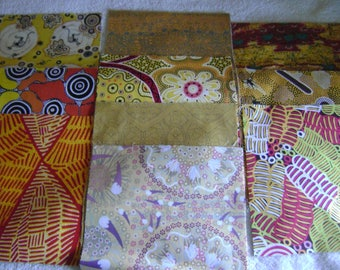 "Dreamtime Australian Aboriginal  Square Pack 10"" by 10"" Precut Pack by M & S Textiles, Yellow Prints"