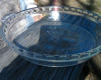 40s 50s Pyrex Glass Pie Plate Pyrex Pie Plate Glass Pie Plate 229 50s TM REG App 9 1/2 Inch Glass Fluted Pie Plate With Scalloped Handles